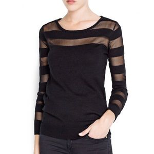 Mango Sheer Detail Long Sleeve Sweater Brand New